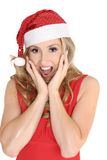 Surprised woman at Christmas Royalty Free Stock Photos