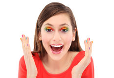 Surprised woman with colorful eyeshadow Royalty Free Stock Image