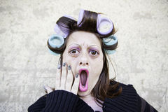 Surprised woman combed Royalty Free Stock Photo