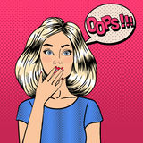 Surprised Woman in Comic Style. Bubble Oops vector illustration
