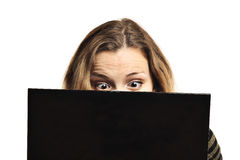 Surprised woman and computer stock photo
