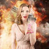 Surprised woman cook in kitchen fire. Bad cooking Royalty Free Stock Photo