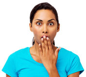 Surprised Woman Covering Mouth Stock Photography