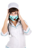 Surprised woman doctor or nurse  in mask Royalty Free Stock Image