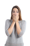 Surprised woman expression with wide opened eyes Royalty Free Stock Photo