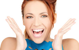 Surprised woman face. Bright picture of surprised woman face over white Stock Photos