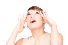 Surprised woman face Royalty Free Stock Images