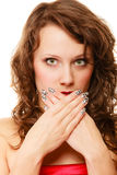 Surprised woman face, girl covering her mouth Royalty Free Stock Image