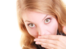 Surprised woman face, girl covering her mouth with hand Stock Photo