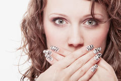 Surprised woman face, girl covering her mouth over white Stock Images