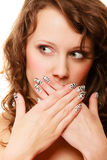 Surprised woman face, girl covering her mouth over white Royalty Free Stock Images