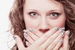 Surprised woman face, girl covering mouth Royalty Free Stock Photography