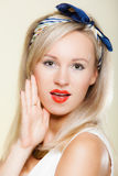 Surprised woman face, girl retro style open mouth facial expression Stock Photography
