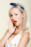 Surprised woman face, girl retro style open mouth facial expression stock photos