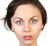 Surprised Woman Face Over White Royalty Free Stock Photos