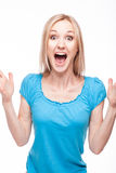 Surprised woman face over white Stock Image