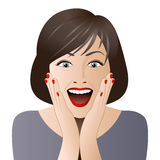 Surprised woman face for sale illustration Royalty Free Stock Photo