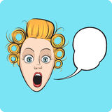 Surprised woman face with speech bubble. Funny cartoon style emotional facial expression with speech bubble. Easy-edit layered vector EPS10 file scalable to any Stock Photos