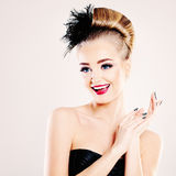 Surprised Woman Fashion Model Laughing Royalty Free Stock Photos