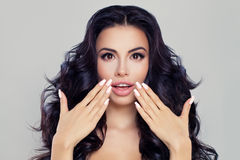 Surprised Woman Fashion Model with Open Mouth Stock Image