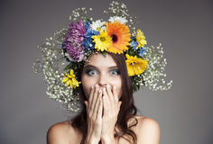 Surprised Woman With Flower Wreath On Her Head. Royalty Free Stock Photos
