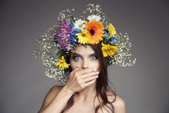 Surprised Woman With Flower Wreath On Her Head. Stock Photos