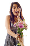 Surprised Woman - Flowers Royalty Free Stock Image