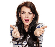 Surprised woman gesturing Stock Photos