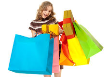 Surprised woman gift bags shopping Royalty Free Stock Images