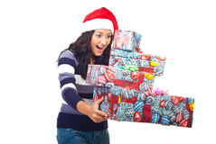 Surprised woman about gifts falling Royalty Free Stock Photo