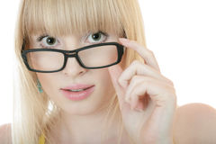 Surprised woman in glasses Stock Image
