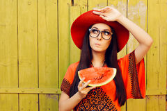 Surprised Woman with Glasses Holding Watermelon Slice Stock Photography