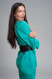 Surprised woman in green dress Stock Images