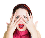 Surprised woman with hands on face. Surprised woman with open hands over his face, staring at the camera with her mouth open. White Background Stock Photos