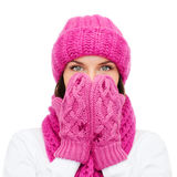 Surprised woman in hat, muffler and mittens Royalty Free Stock Photos