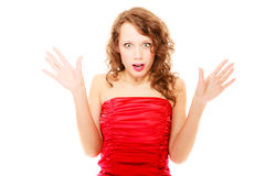 Surprised woman with her hands in the air isolated Stock Photography