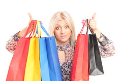 Surprised woman holding shopping bags Royalty Free Stock Photo