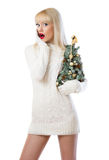 Surprised woman holding small christmas tree Stock Photography