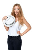 Surprised woman holding straw hat Royalty Free Stock Photos