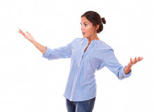 Surprised woman holding up her hands Stock Photography