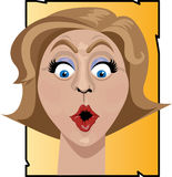 Surprised woman illustration. Head shot illustration of a woman with wide eyes looking very surprised Stock Photo