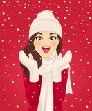 Surprised Woman In Snowfall Royalty Free Stock Photo