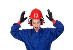 Surprised woman industrial worker Stock Photos