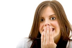 Surprised woman isolated Royalty Free Stock Image