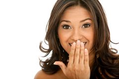 Surprised woman isolated Royalty Free Stock Photos