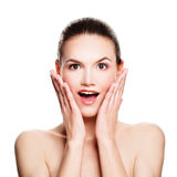 Surprised Woman Isolated. Fun. Spa Model with Open Mouth Stock Image