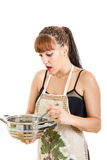 Surprised woman in the kitchen stirring the pot Stock Photos