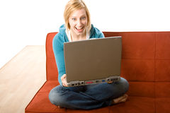 Surprised woman with laptop Royalty Free Stock Photography