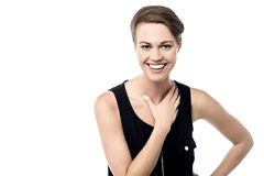 Surprised woman laughing out loud Stock Photo
