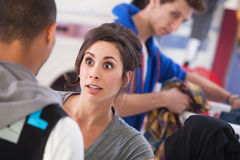 Surprised Woman in Laundromat Royalty Free Stock Photo